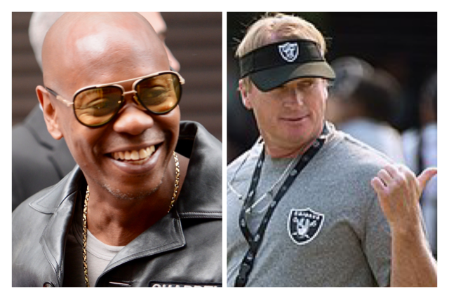 Dave Chapelle and Jon Gruden photos both courtesy of Wikipedia